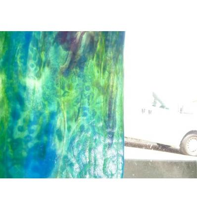 "Verre ""YO"" Vert et  bleu turquoise (rose) 30x30cm"