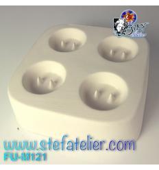 Moule  fusing casting 4 boutons vêtements 3cm diam