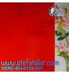"Verre ""BU"" rouge opaline 29x25cm fusing Bullseye"