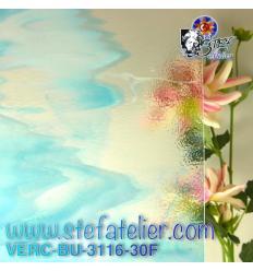 """Verre """"BU"""" bleu turquoise opaline et transparent 29x25cm"""