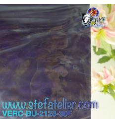 "Verre ""BU"" bleu violet foncé bullseye fusing 25x29cm"