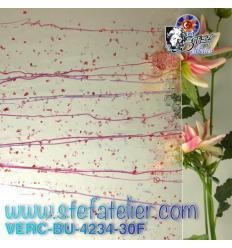 "Verre ""BU"" tiges et frittes roses et violettes fusing bullseye 25x29cm"