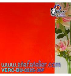 "Verre ""BU"" orange rouge opale fusing bullseye 29x25cm"
