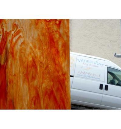 """verre """"W"""" Orange célénium et opaline semi transparent 35x27cm"""