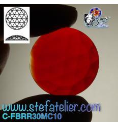 cabochon rond à facettes de 30mm couleur rouge