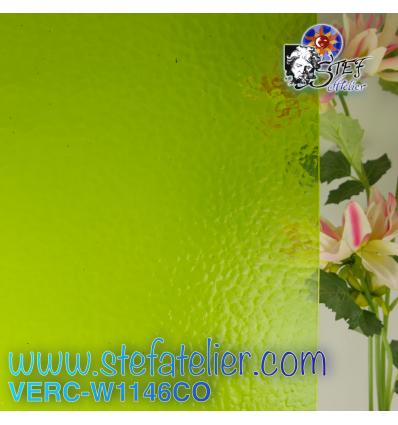 "Verre ""W"" corella vert prairie 1146L cathédrale 26x27cm"