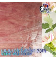 """Verre """"W"""" Mystic 701 WO rose ambre et opaline blanche environ 26x27cm"""