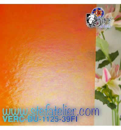 """VERRE """"BU"""" Orange transparent irisé environ 29x25 cm"""