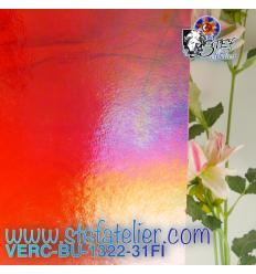 """VERRE """"BU"""" rouge grenat transparent irisé environ 29x25 cm"""
