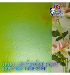 """VERRE """"BU"""" vert printemps transparent irisé environ 29x25 cm"""
