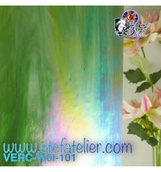 "Verre ""W"" Chlorophylle opaline irisée environ 26x27 cm"