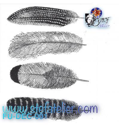 Décalcomanie 4 plumes noires environ 9.5x2.5cm à cuire en fusing