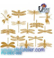 Décalcomanie 14  minies libellules dorées d'environ 4x3cm à cuire en fusing
