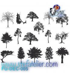 Décalcomanies 16  petits arbres noirs à cuire en fusing, dimensions pour un arbre environ 3 x 3 cm