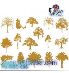 Décalcomanies 16  petits arbres or à cuire en fusing, dimensions pour un arbre environ 3 x 3 cm