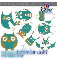 Décalcomanie 8 chouettes rigolotes turquoise et or format 13.3 X 10 cm à cuire en fusing