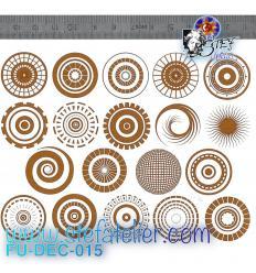 Décalcomanie planche de 19 petits motifs circulaires argentés à cuire en fusing format 12.7 X 10.8 cm