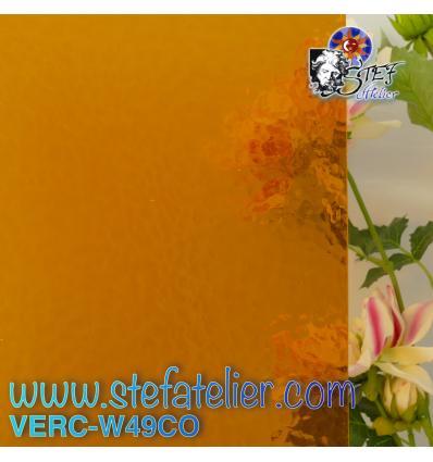 """Verre """"W"""" cathédrale corella ambre foncé 26x27cm"""