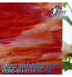 """Verre """"BU"""" rouge orange clair et foncé et opaline 25x29cm"""