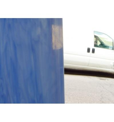 "Verre ""S"" bleu moyen et opaline blanche opaque 30x30cm"