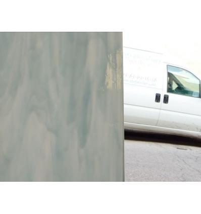 """Verre """"S"""" gris clair et opaline blanche opaque 30x30cm"""