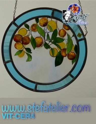 Petit cercle en vitrail diamètre 12 cm