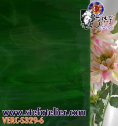 """Verre """"S"""" vert très foncé bariolé 30x30cm"""