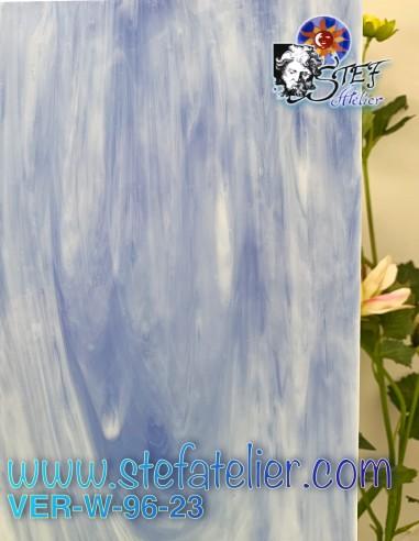 "Glass ""W"" white and opaque sky blue..."