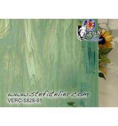 """Verre """"S"""" vert menthe semi opalescent 30x30cm"""