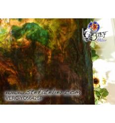 """Verre """"YO"""" ambre, brun, vert et semi transculide 30x30cm"""