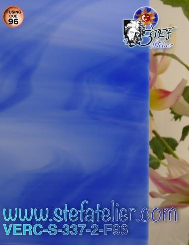 """Glass """"S"""" medium opaque blue COE96..."""