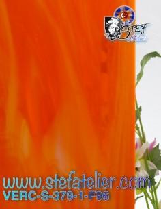 """Glass """"S"""" opalescent orange..."""