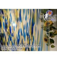 """Verre """"S"""" bleu jaune  et opaline compatible fusing S96 30x30cm"""