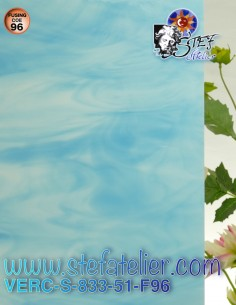 """Verre """"S""""  Bleu ciel opaque..."""