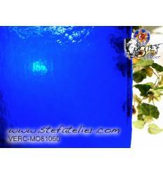 "Verre ""MO"" Bleu transp.  25x25cm fusing Moretti S 104"