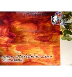 "Verre ""UR"" rouge orange et blanc sur transp 30x30cm"