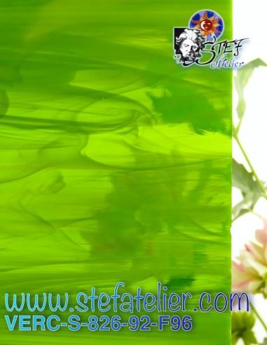 """Verre """"S"""" bariolé vert vif 30x30cm"""