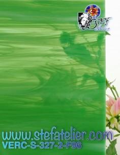 """verre """"S"""" vert clair herbe..."""