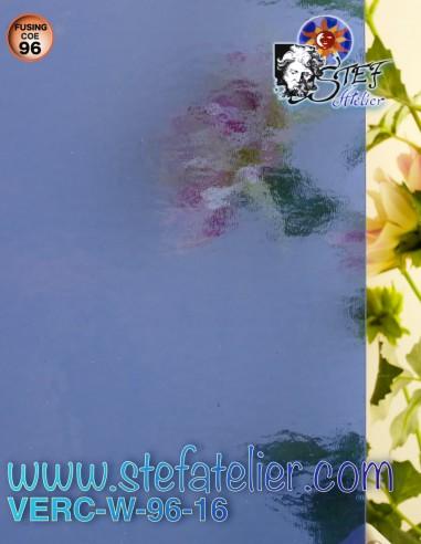 """Verre """"W"""" bleu saphir COE96 26x27cm"""