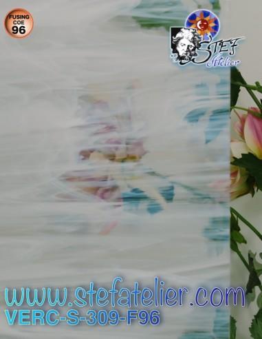 Clear and white wispy COE96 30x30cm