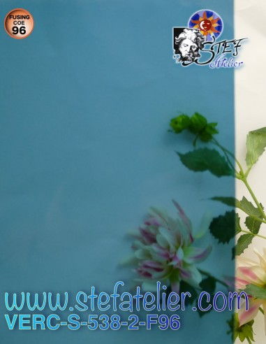 "Light gray blue ""S"" glass COE96 30x30cm"