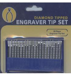 Set de 20 minies meules diamant pour graveurs