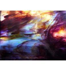 """Verre """"KO"""" violet rouge bleu sur clair 26x26cm"""