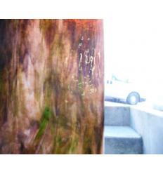 "Verre ""YO"" rose violacé  vert opaline 30x30cm"