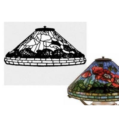 """Forme de lampe """"coquelicots"""" fibre de verre et plan 50cm"""
