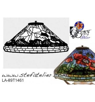 """Forme de lampe """"coquelicots"""" fibre de verre et plan 41cm"""