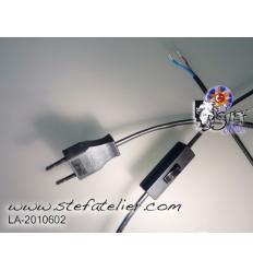 cable d'alimentation deux fils noir